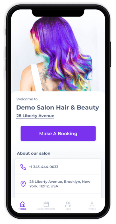 Salon Branded Apps - Prototype USA
