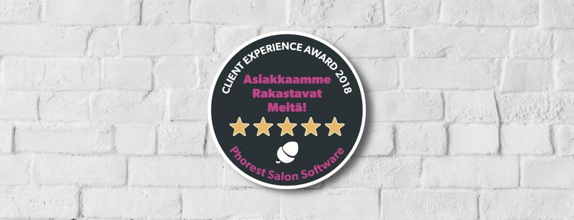 On Aika Juhlia Client Experience Award 2018 Voittajia