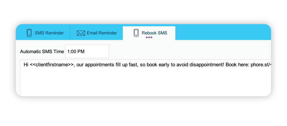rebooking SMS feature