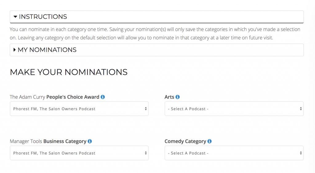 Podcast Awards, step by step, nominations