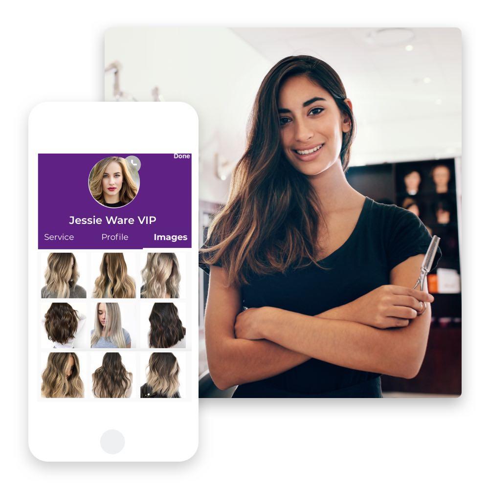 Mit der Phorest Go Management-App ganz einfach Vorher-Nachher-Bilder aufnehmen und in der Kundenkartei speichern. Bei Erlaubnis auch perfekt für dein Social Media Marketing.