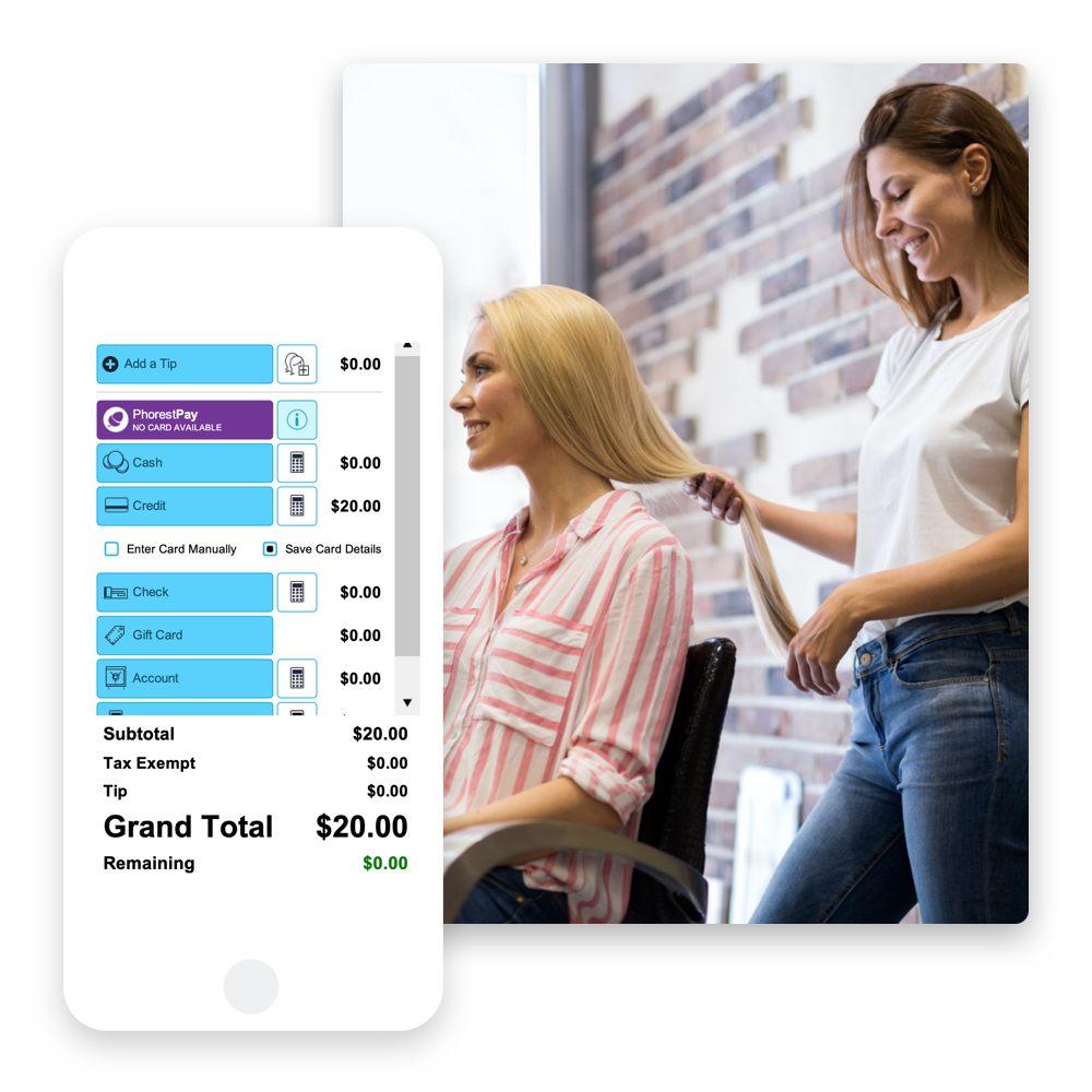 Mit dem Kassensystem und der App von Phorest kannst du deine Kundschaft ganz bequem am Stuhl bezahlen lassen. Kein Auflauf mehr an der Rezeption.