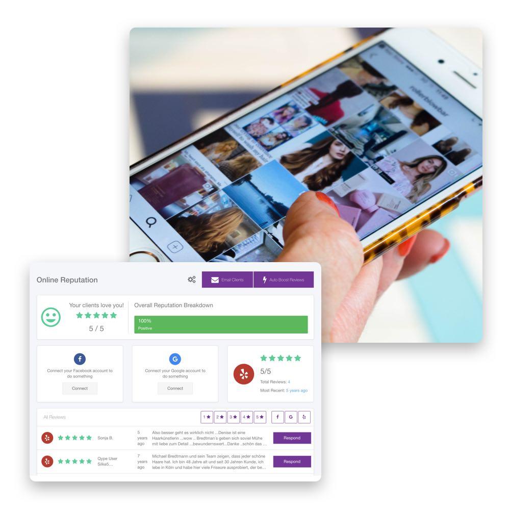 Mit Phorest kannst du ganz einfach 5-Sterne-Bewertungen hervorstellen und deine Online-Reputation verbessern.