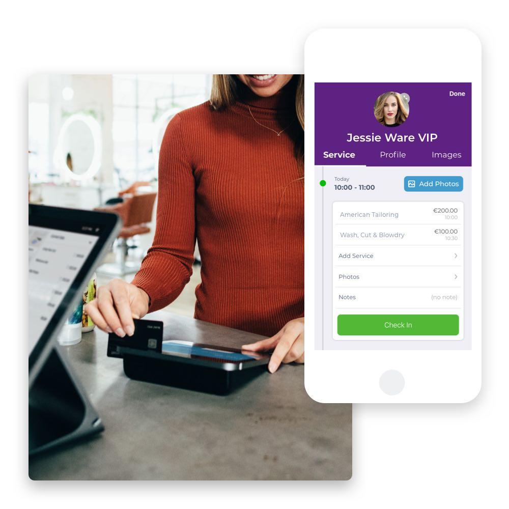 Kassensystem für Friseure und Friseurinnen per Phorest GO App. Kund:innen können einfach am Stuhl bezahlen.