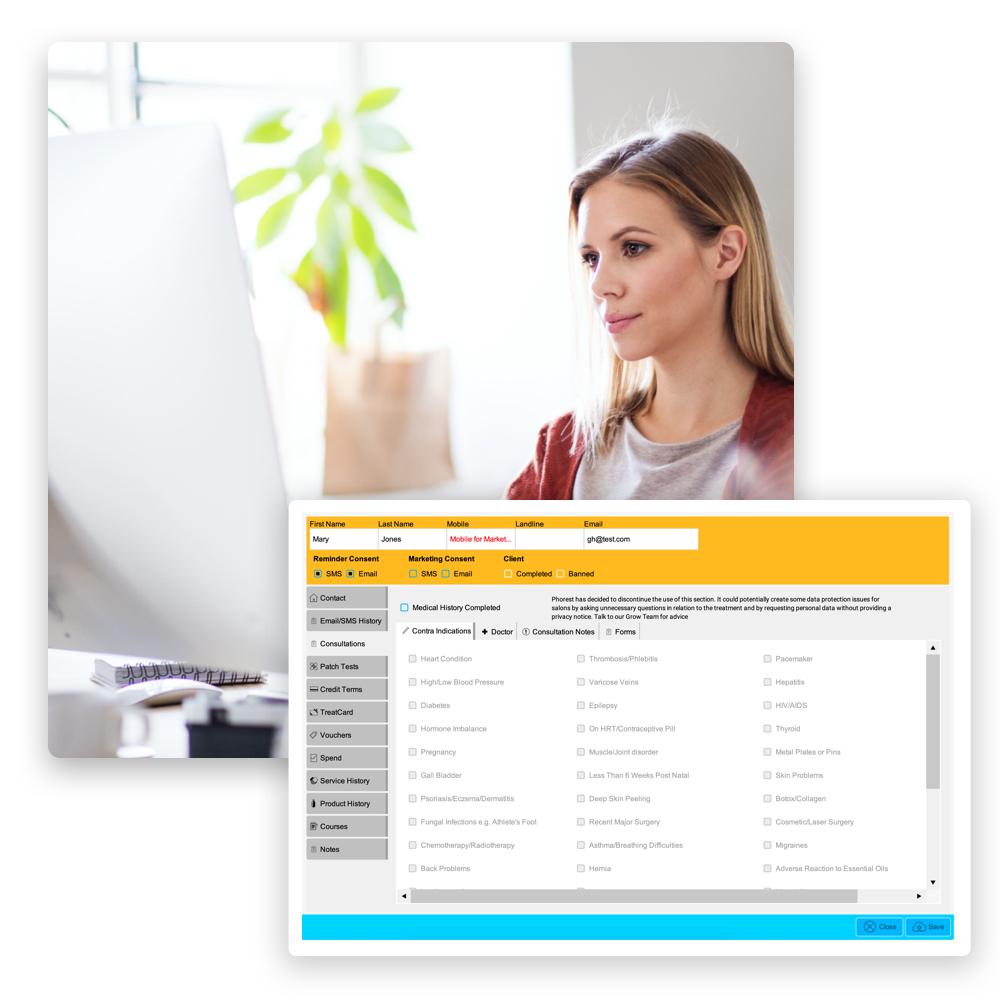 Integrierte Kundenkartei. Alle wichtigen Daten zu deinen Kund:innen stets zur Hand.