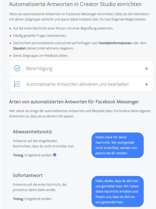 Facebook - Automatisierte Nachrichten